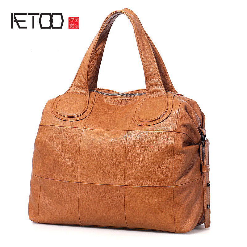 AETOO New leather handbags first layer of leather handbag shoulder bag Korean leather bag women bag the first layer of leather handbag shoulder bag handbags stitching diagonal shopping bag leather bag with large capac
