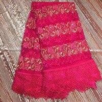 Фуксия Нигерии кружевной ткани good looking чистая кружевной ткани для торжественное платье Шитье французский тюль и сетчатые ткани кружева ea04-2