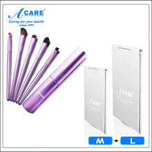 ACARE 1 Set Golden/Pink/Purple Eye Shadow Eye Line Brush Kit & Lady Makeup Mirror Small Cosmetic Mirror Light Super Thin