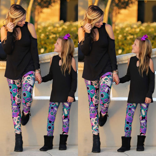 Mommy Daughter Women Girls Tops T-Shirts Leggings Pants Family Matching Outfits