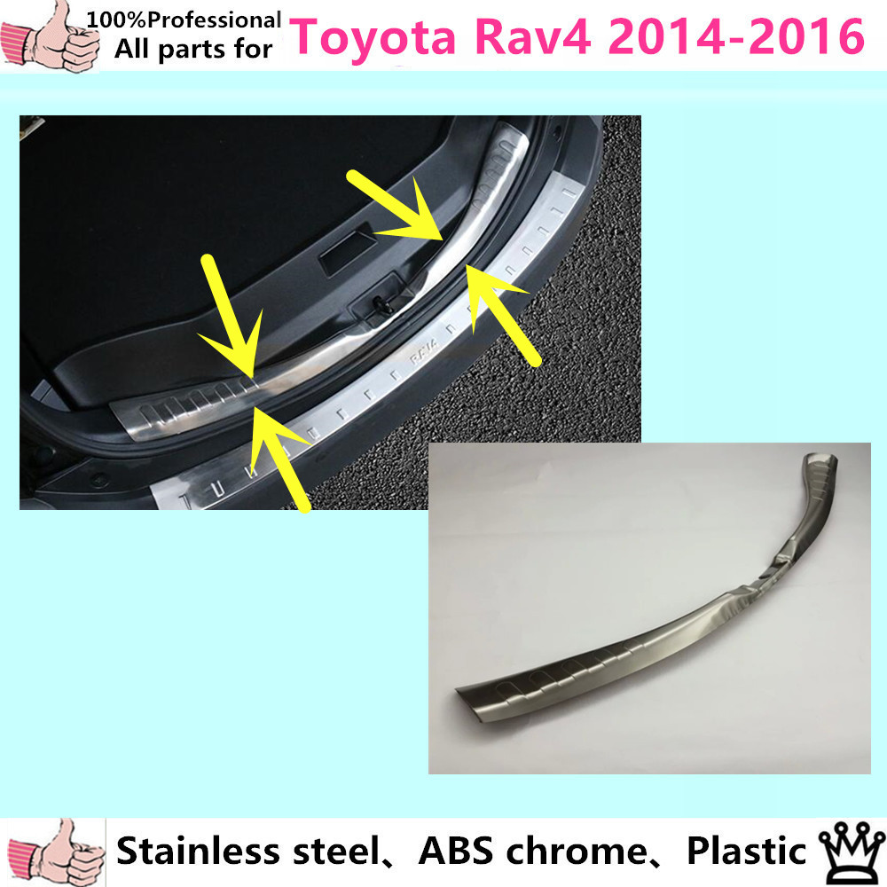 Car Styling cover Stainless Steel Inner Rear Bumper trim plate lamp frame threshold pedal 1pcs for Toyota RAV4 2014 2015 2016 for porsche cayenne 2015 stainless steel outer rear bumper foot plate trim 1pcs car styling