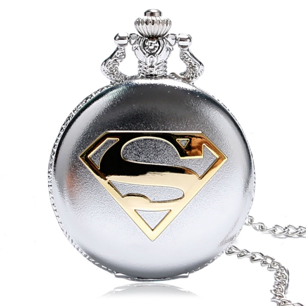 Retro Popular Fullmetal Superman Cartoon Theme Quartz Pocket Watch Black/Bronze/Silver Color Pocket Watches With Necklace Gifts