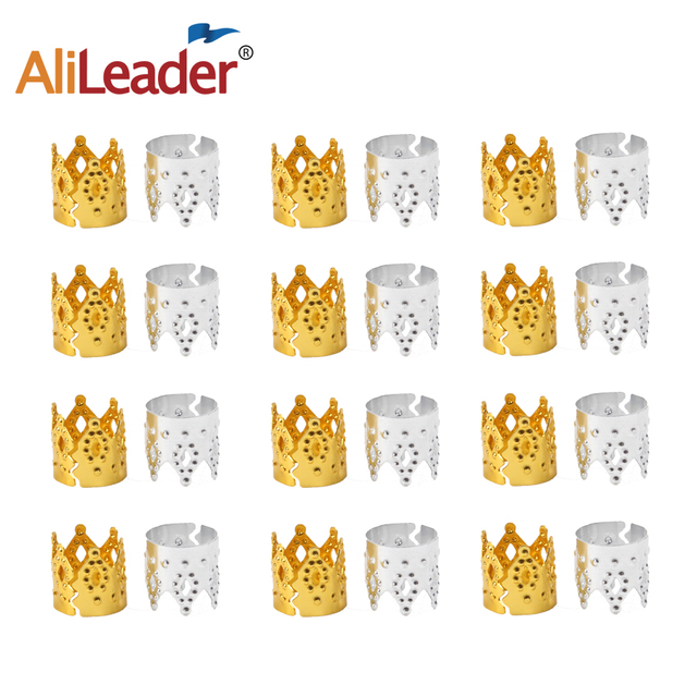 Alileader Adjustable Hair Extension Braid Decoration Crown Cuff Dreadlocks Tube Beads Ring Clip Pins Set Silver and Gold