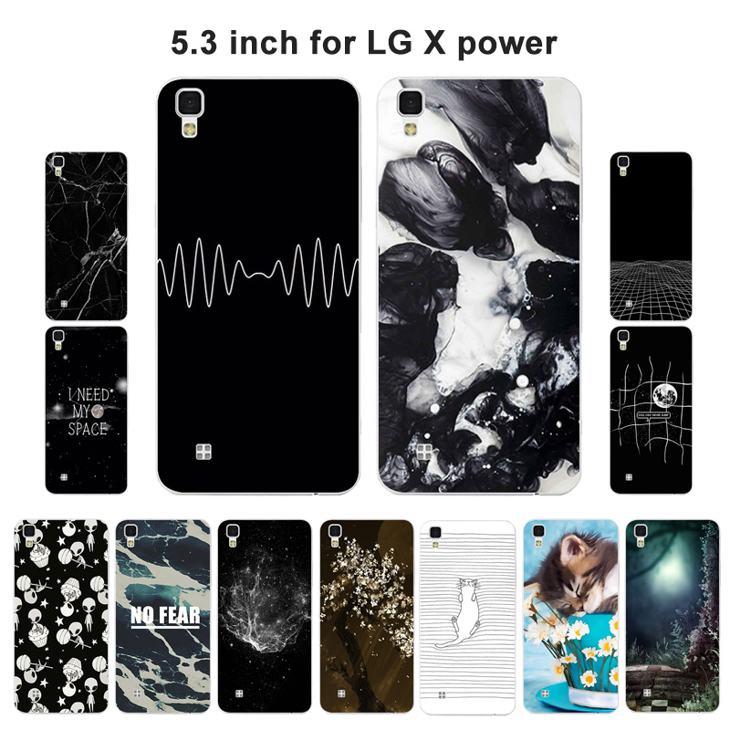 for LG X Powe K220 LS755 Silicone Case for LG X Power Cover Aerospace Painted Soft Mobile Phone for for LG X Power Cases