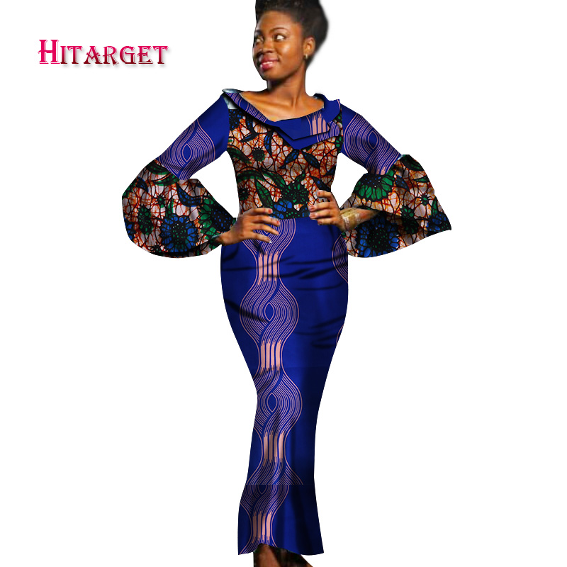 2017 Otoño Bazin Riche Vestidos Africanos para Mujer Impresión de - Ropa nacional