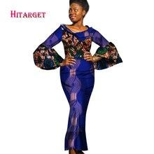 2017 Autumn Bazin Riche African Dresses for Woman Wax Print Splice Long Sleeve Mermaid Dashiki Clothes WY1297