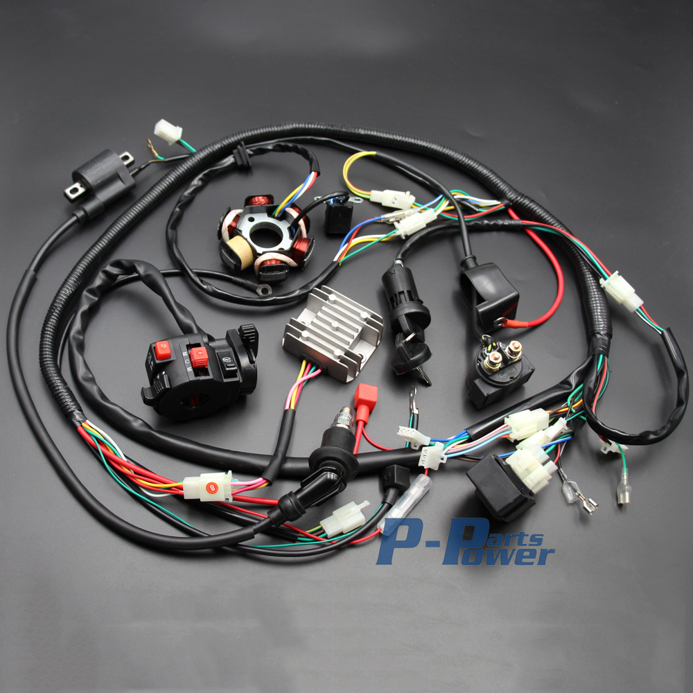 Chinese GY6 125cc 150cc ELECTRICS Stator Wire Harness Assembly Wire Loom Magneto Coil CDI Rectifier Solenoid