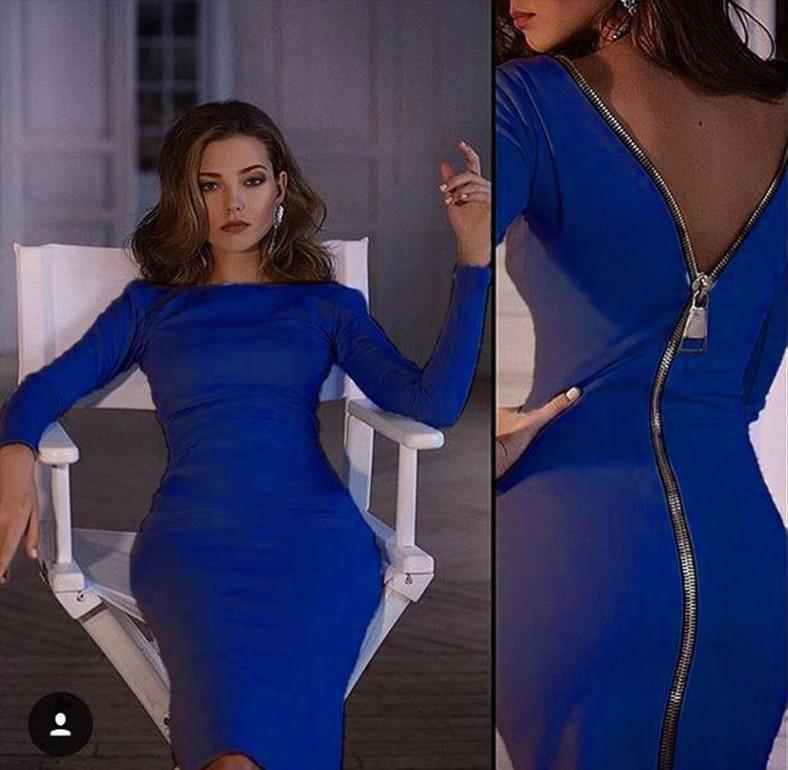 Autumn Sexy Femme Midi Sheath Bodycon Dress Homecoming Long Sleeve Elegant  Dresses Women Back Zipper Pencil Slim Dress GJJ674-in Dresses from Women s  ... 5a0288ae9e43