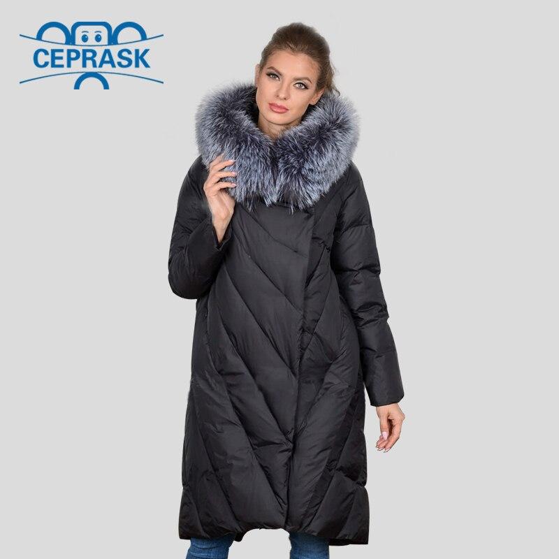 2019 New Winter Coat Women's Jacket Plus Size Long Hoodie Warm Women Winter Down Jacket Raccoon Fur Biological-Down Female   Parka