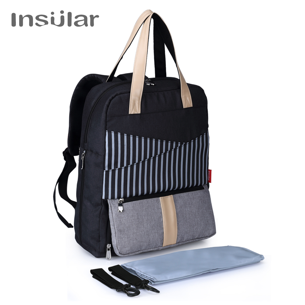 Insular Working Mother Baby Care Bag Backpack with Computer Layer Multi-function Backpack for Mom Waterproof Diaper Bag Backpack working mother