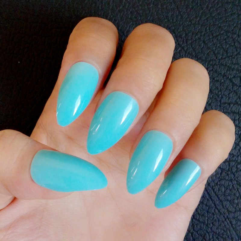 24pcs Short Stiletto Nails Mint Blue Acrylic False Nail Tips Diy Fake Manicure