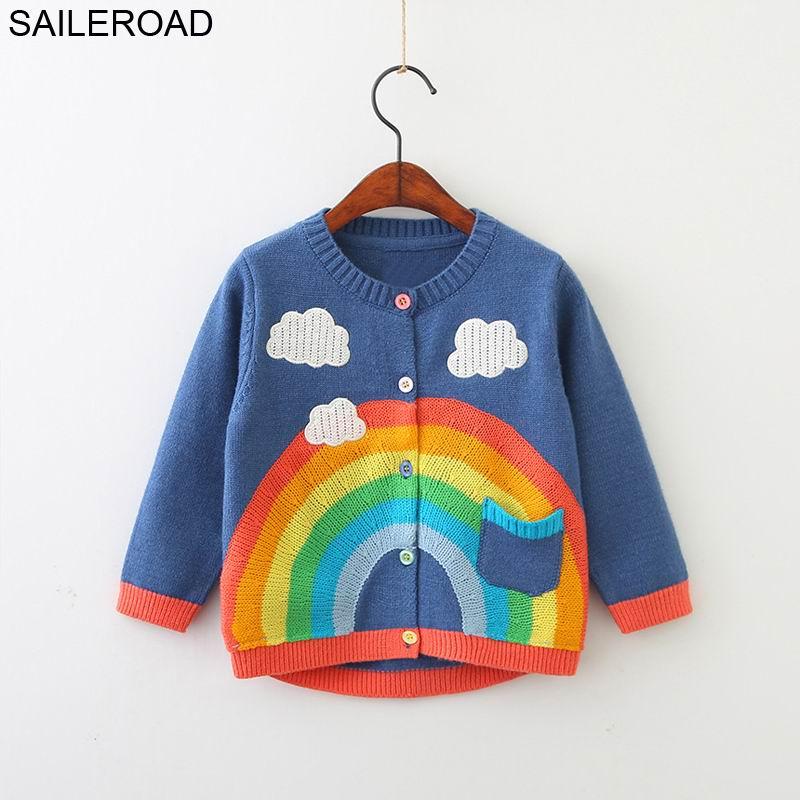 Saileroadвязаный свитер с вышивкой радуги для девочек от 2 до 6 лет