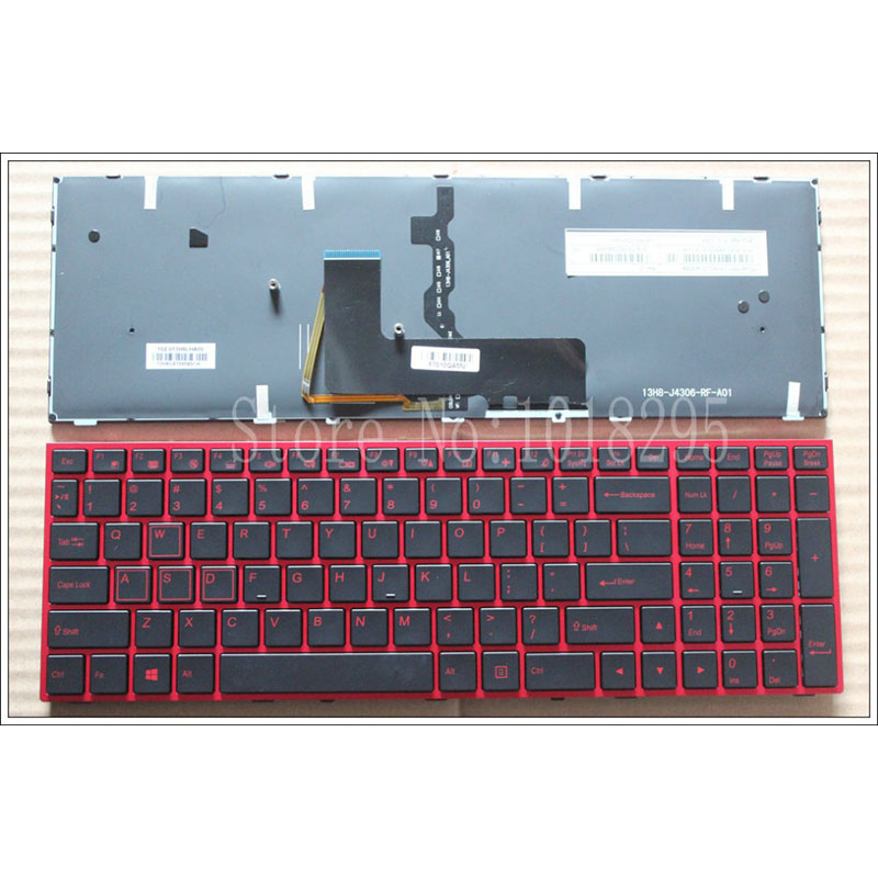 NEW US Laptop Keyboard for Clevo Sager NP8652 NP8650 NP8670 NP8671 Gaming Red Keyboard US Backlit laptop keyboard for clevo m550 black without frame with trackpoint u s english international ui mp 030834u 4309l