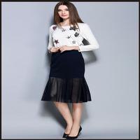 Elegant Sweet Print 2016 New Long Sleeved 2 Two Piece Set Skirt Suits Women S Crop
