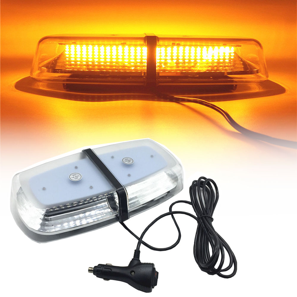 12 24V 72 LED Amber Police Law Enforcement car Strobe Beacon Emergency light Warning Mini Bar