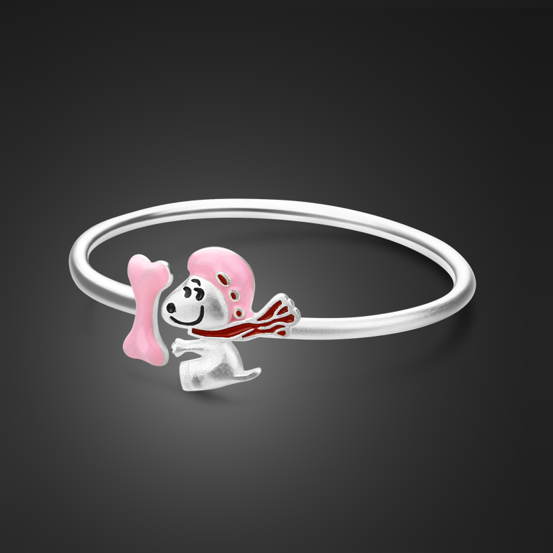 Solid silver children jewelry gift. 100% 999 sterling silver cute pink dog & bow bracelet. Suitable for 0-10 year old baby girl