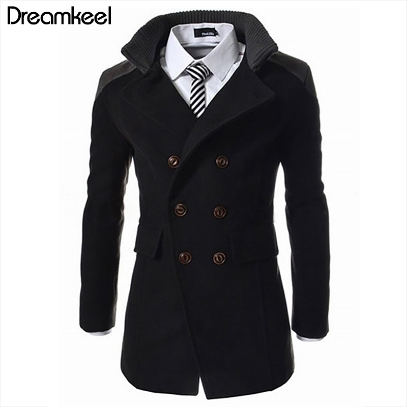 Men Jacket Warm Winter Double Breasted Trench Long Outwear Button Smart Overcoat Casual Fashion Roupas Masculina Coats Men Y(China)