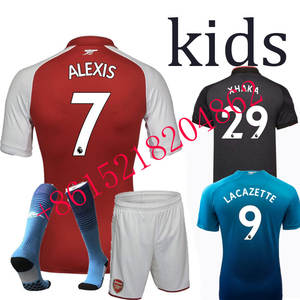 72bbe36988b 2017 kids Top quality Arsenales jersey sleeves adult Suit Soccer Home red  Away 3RD men shirt free shipping 2018