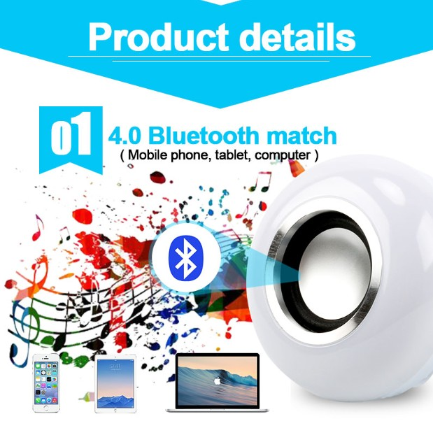 Image 2 - Bluetooth Speaker Smart LED Light Bulb E27 12W Music Playing Dimmable Wireless Led Lamp Colorful RGB With 24 Keys Remote Control-in Combination Speakers from Consumer Electronics