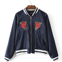 YSMILE Y Women Autumn Baseball Jacket New Fashion Embroidery Stand Collar Long Sleeve Zipper Loose Women