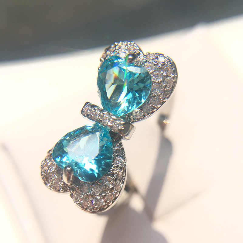 Yanleyu Elegant Bow knot Blue Zircon คริสตัลงานแต่งงานแหวนเงินแท้ 925 เครื่องประดับหมั้นเครื่องประดับ PR058