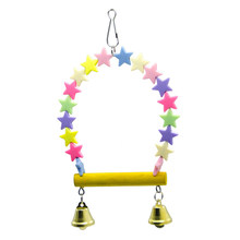 Nontoxic Durable Colorful Creative Star Parrots Swing Parrot Toy Hanging Toy Hanging Swings Cage(China)