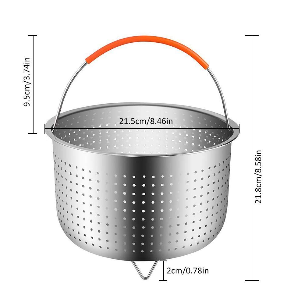 6 Quart 21.5cm Instant Steam Basket Stainless Steel Steam Pot Rice Cooker with Silicone Handle Cookware Instant Pot Accessories