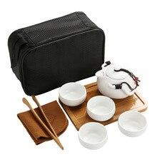 Китайский чайный дорожный чайный набор кунг-фу керамический портативный чайный горшок фарфоровый чайный сервиз Gaiwan чайные чашки чайной церемонии чайный инструмент