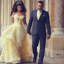 Romantic Saudi Arabia Prom Party Dress Ball Gown Princess Yellow Prom Gowns Lace Appliques Off Shoulder Formal Evening Dress