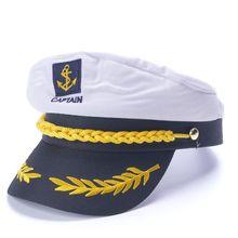 Capitán de barco blanco marino capitán Barco Marinero militar náutico sombrero  gorra disfraz adultos fiesta vestido elegante 71fdd4a1826