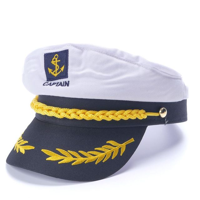 White Yacht Captain Navy Marine Skipper Ship Sailor Military Nautical Hat  Cap Costume Adults Party Fancy Dress d598cda2fc11