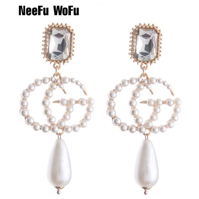 Neefu Wofu Drop Pearl Earrings Zine Alloy Brand Rhinestone Earring Large Long Brinco Ear Accessories