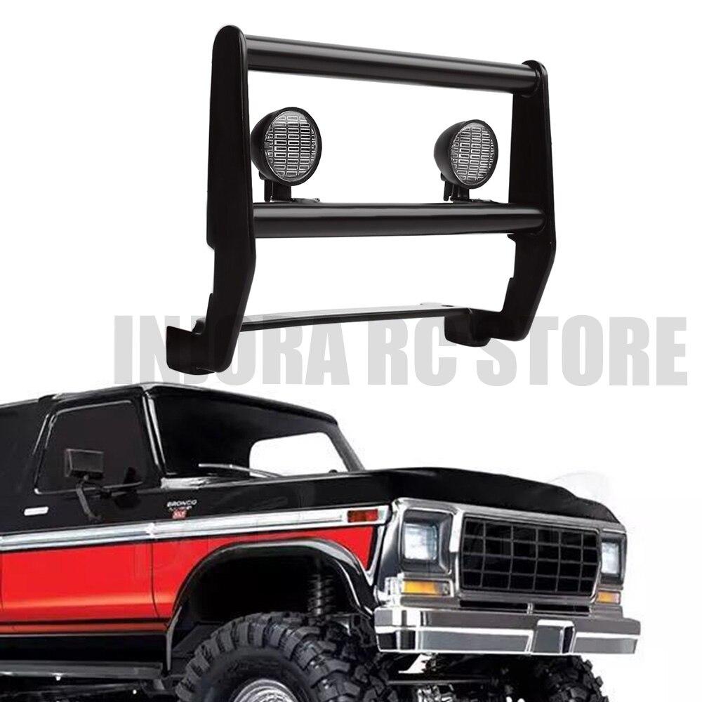 1PCS TRX 4 82046 4 Metal Front Bumper with White LED Light for 1:10 RC Crawler Car TRAXXAS TRX4 Bronco Ranger XLT