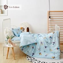 Liv-Esthete 2019 New 100% Cotton Rocket Kids Cartoon Blue Bedding Set Duvet Cover Pillowcase Bed Linen For Mom Baby 3Pcs