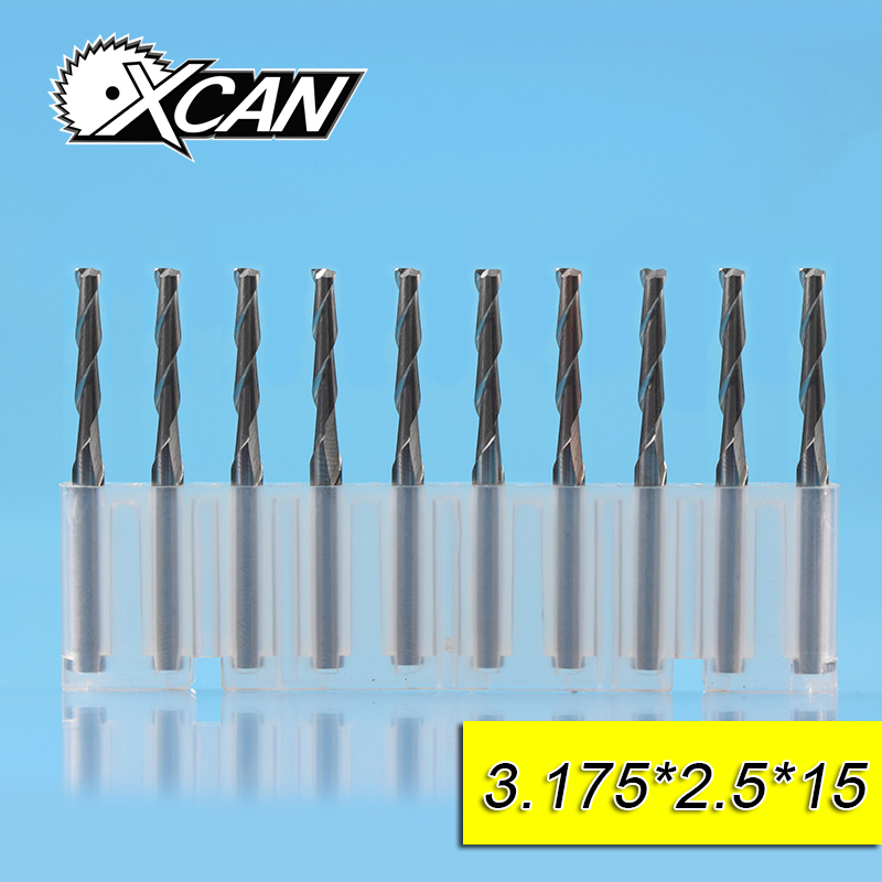 XCAN 10pcs 2.5mm Tungsten steel 2 flute CNC flat end mill with 15mm cutting length 3.175shank for wood drill milling cutter free shiping1pcs aju c10 10 100 10pcs ccmt060204 dia 10mm insertable bore drilling end mill cutting tools arbor for ccmt060204
