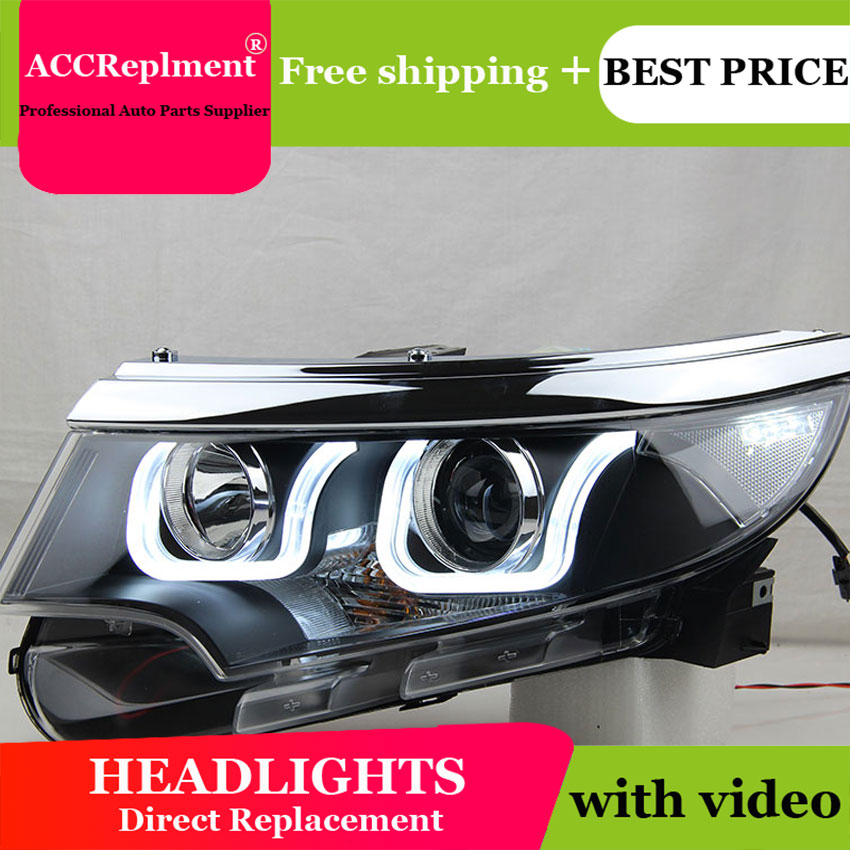 Car Styling For Ford EDGE Headlights 2012-2014 EDGE LIMITED LED Headlight DRL Lens Double Beam H7 HID Xenon Bi Xenon Lens