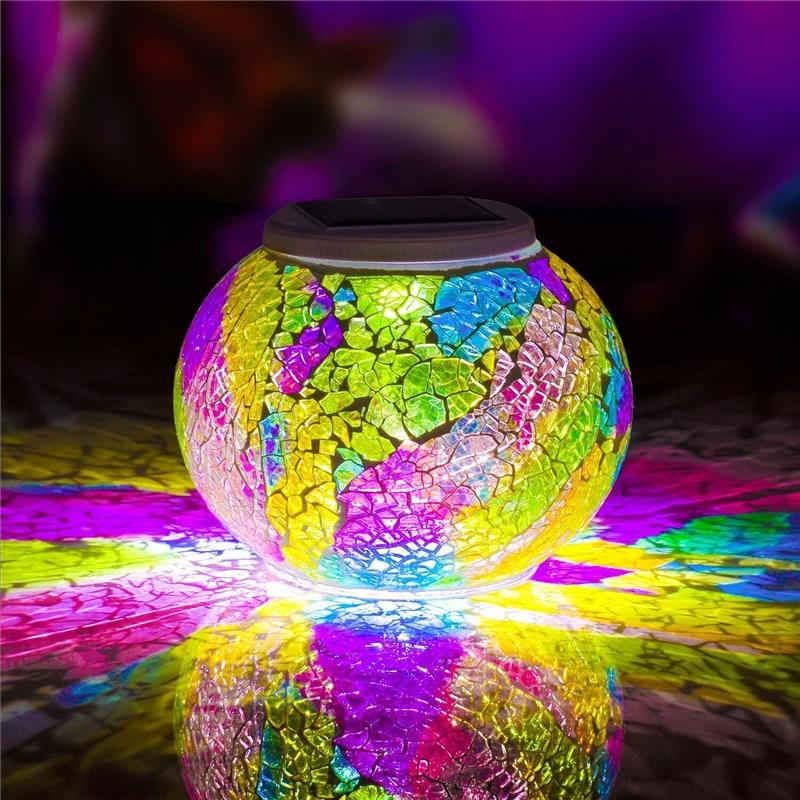 a bola de vidro posta solar do mosaico conduziu luzes do jardim cor que muda as