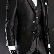 Groom Tuxedo Pants Vest Jacket Black Best-Man Dinner/evening-Suits Shiny Tie B24 B24
