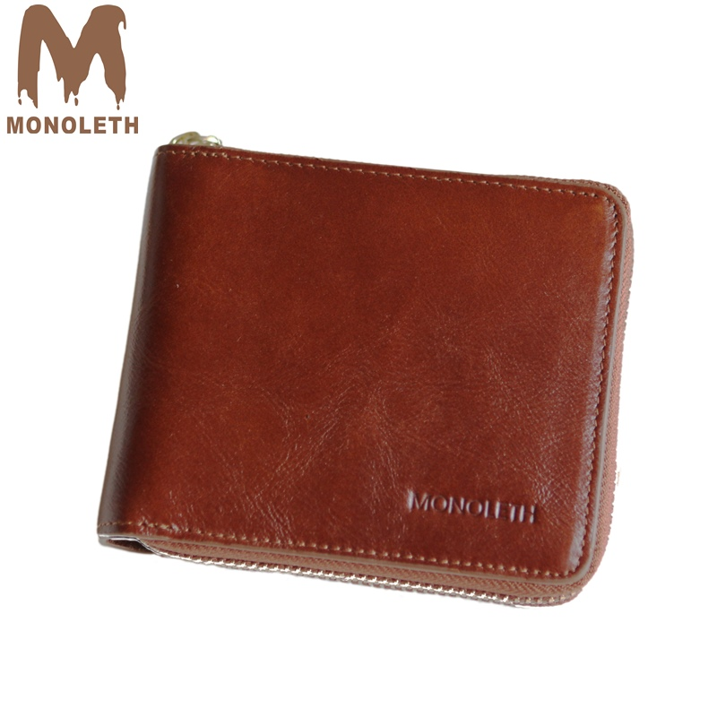 MONOLETH 2017 New 100% Genuine Leather wallet men Gift zipper Coin Purse coffee Vintage Wallet card holder Short wallets male tauren 100% genuine leather cowhide men black coin purse card holder male wallets big capacity short purse with zipper pocket