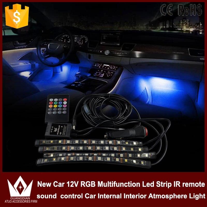 Tcart 4pcs Cigarette LED Atmosphere RGB Multi Color Neon lamps Car styling sound/Music/Voice Control Decoration Light