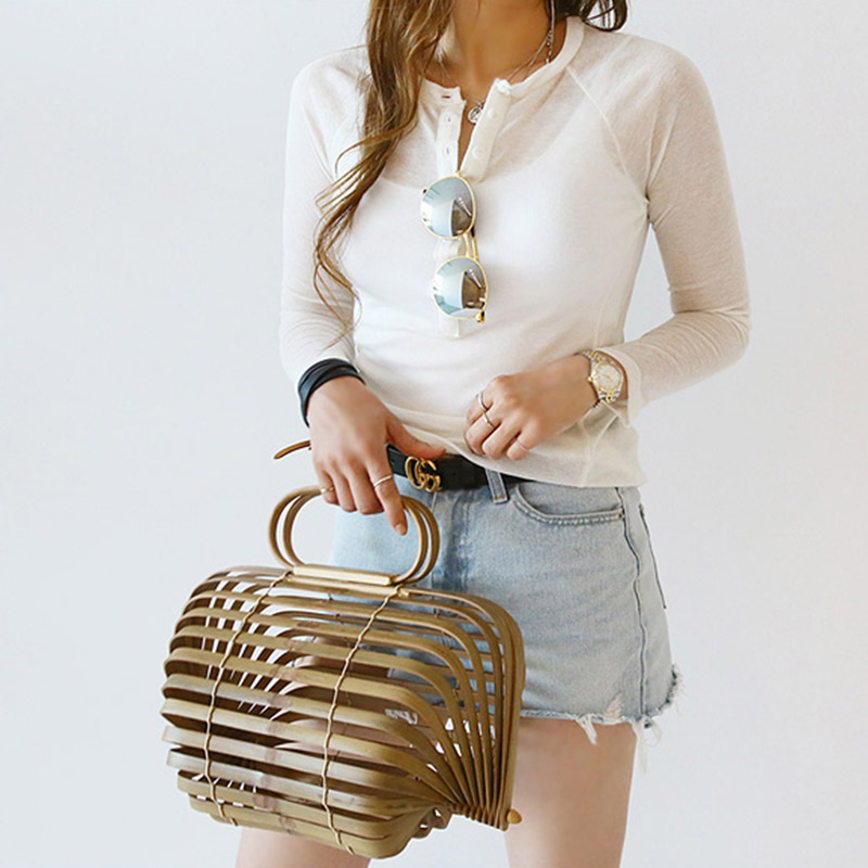 Women's Handbags Bamboo Basket Bag Women Straw Rattan Bag Summer Hollow Out Travel Beach Bag Tote Foldable Bag Bolsa Feminina
