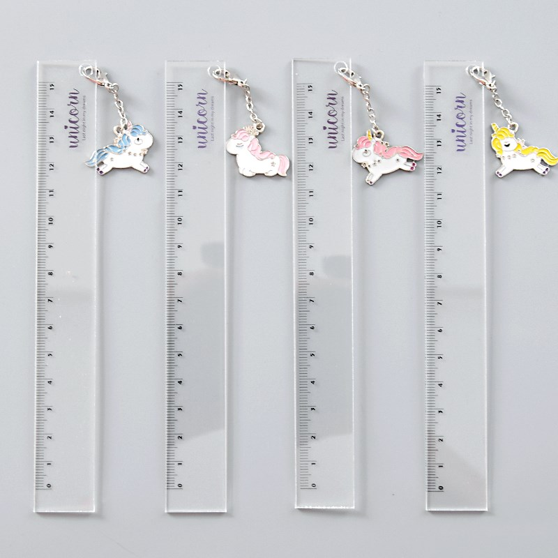 15cm Kawaii Rabbit Straight Ruler Transparent Plastic Template Scale Cute Unicorn School Rulers For Drawing Korean Stationery
