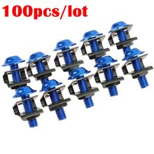 100Pcs/Set Blue Motorcycle Nuts Bolts Durable M6 25mm Rack Mount Cage Nuts&Screws Washers Square Clips Server Bicycle Nuts Bolts