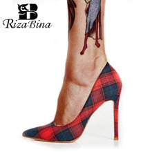 RizaBina Plus Size 35-45 Women's Pumps 2019 Fashion Mixed Color Plaid Office High Heel Shoes Women Sexy Party Pointed Toe Shoes