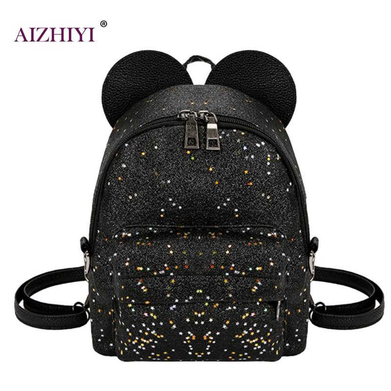 Shining Sequins Women Cute Small Backpacks PU Leather School Bags Girls Princess Shoulder Bag 2018 New Fashion Female Backpack toposhine small rivet women backpacks fashion pu leather women shoulder bag rivet small ladies backpack girls school bags 1751