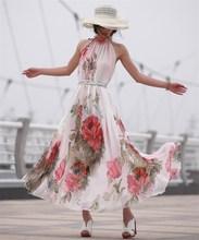 Women Boho Chiffon Beach Dress Summer Sexy Floral Dresses Elegant Long  Maxi Vestido