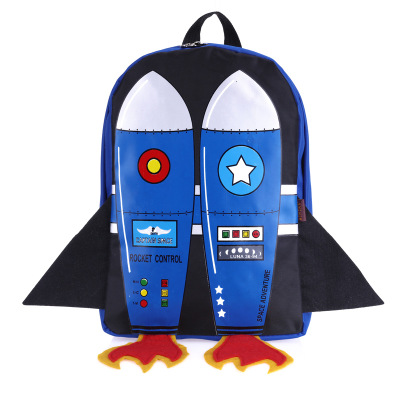 2019 hot shcool bag 3D Cartoon Flying Rocket Design Kids Backpack Students  Preppy Schoolbag Children Pack mochila baby children