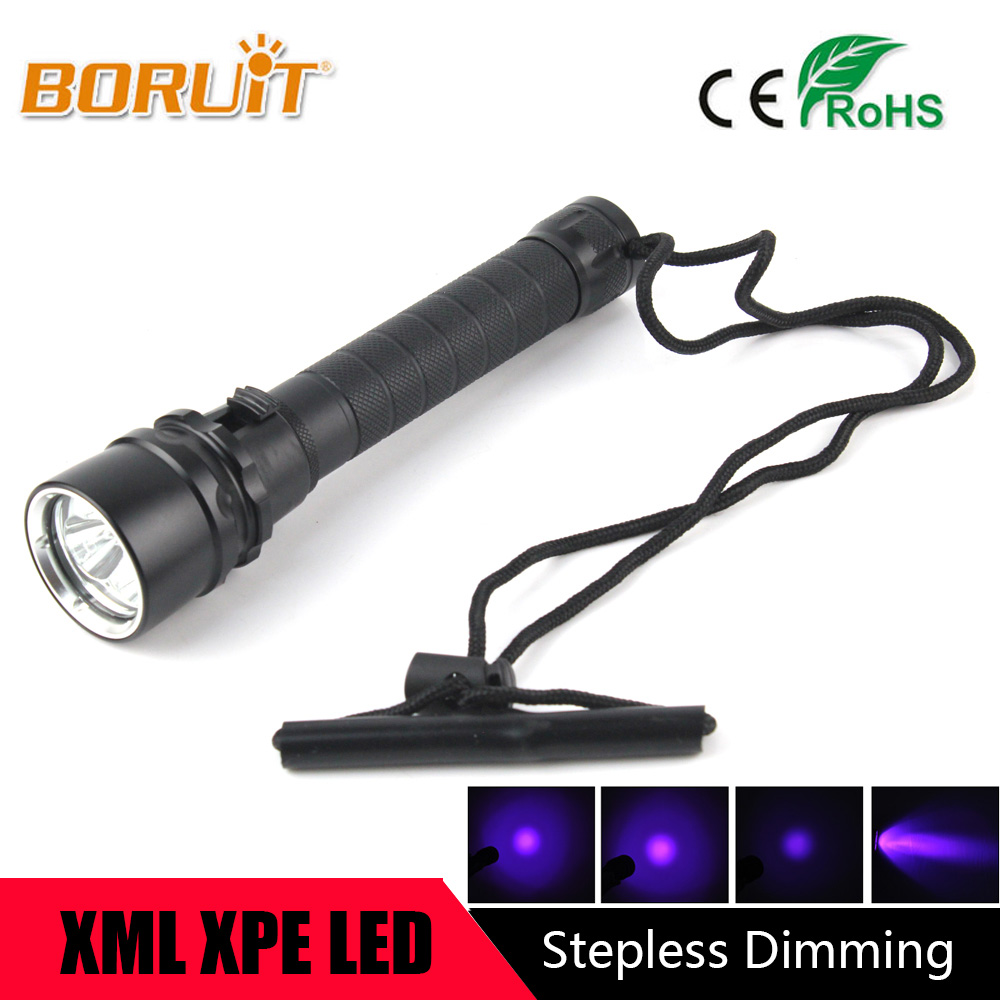 BORUIT 10W Ultraviolet Lantern 3000LM 3x XPE Purple Light Flashlamp Underwater 100m UV Diving Flashlight Torch For 18650 Battery цена 2017