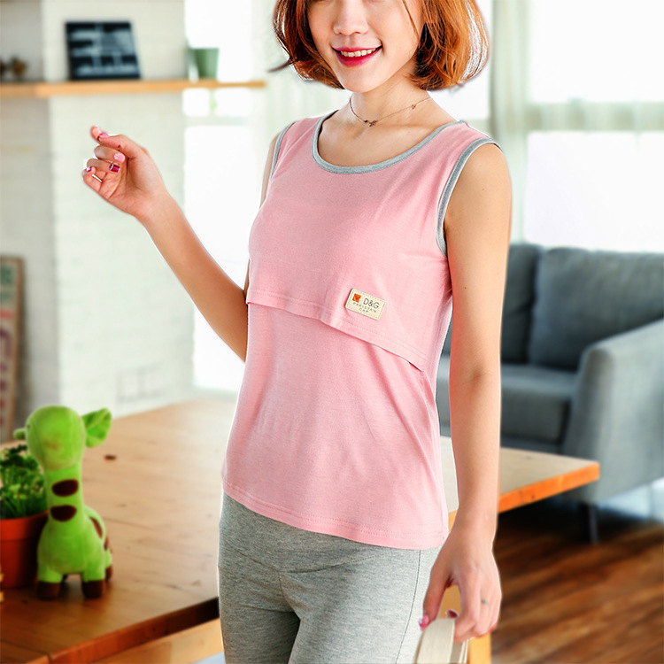 Summer Quality Maternity Vest Top Pregnancy Shirts Breastfeeding Nursing Top Soft Modal Solid Color Maternity Clothes