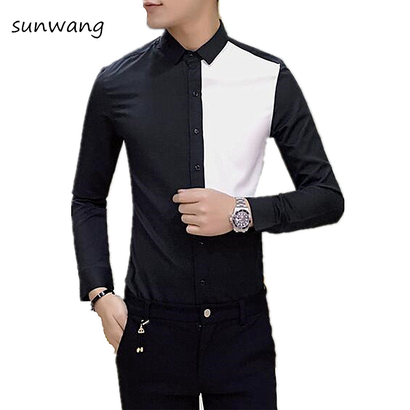 Fashion 2017 Spring Hot Man Black White Patchwork Shirt Mens ...